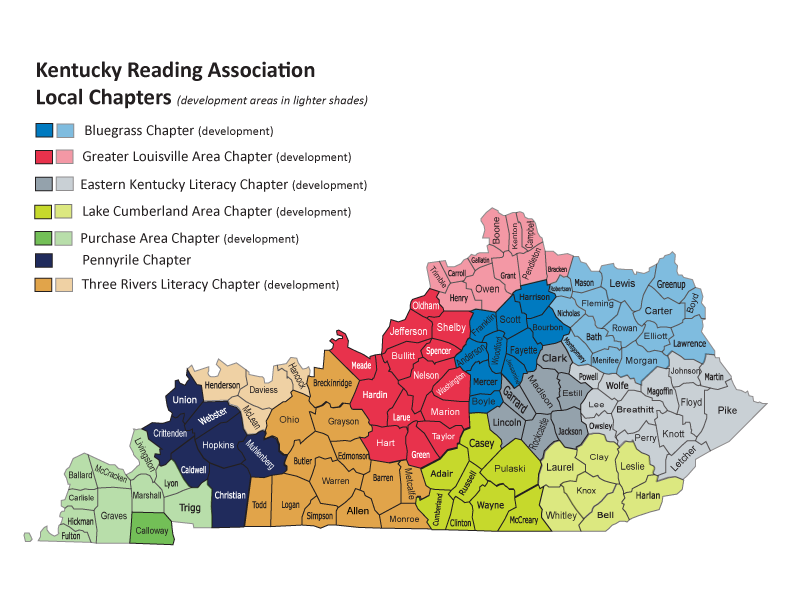Map of Kentucky Reading Association Chapters